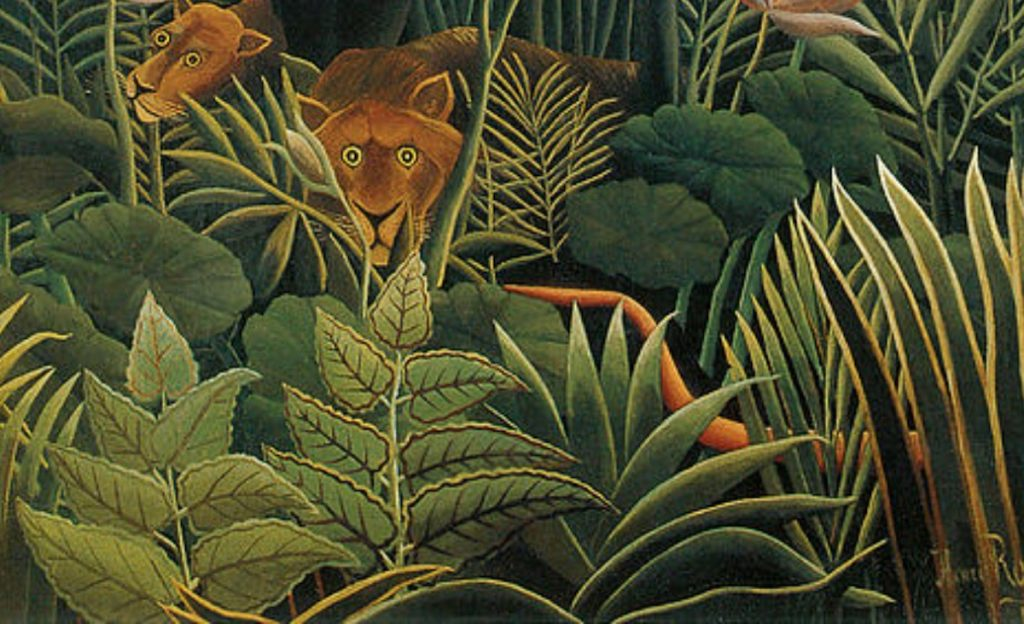 "Zooming in the Henri Rousseau painting ""The Dream"", 1910."
